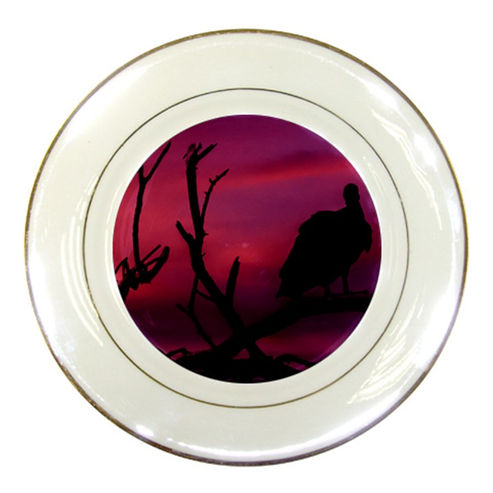 Vultures At Top Of Tree Silhouette Illustration Porcelain Plates