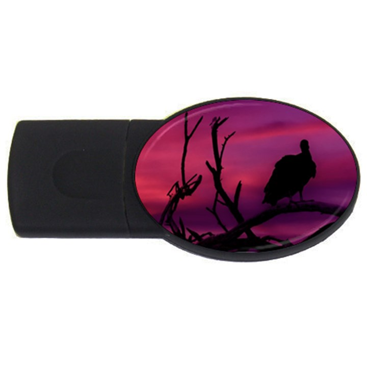 Vultures At Top Of Tree Silhouette Illustration USB Flash Drive Oval (4 GB)