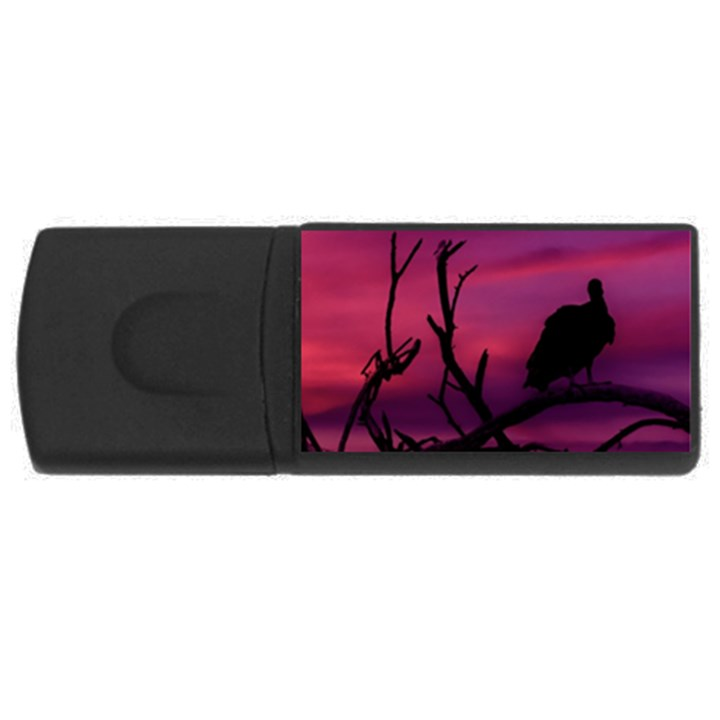 Vultures At Top Of Tree Silhouette Illustration USB Flash Drive Rectangular (4 GB)