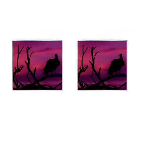 Vultures At Top Of Tree Silhouette Illustration Cufflinks (Square)