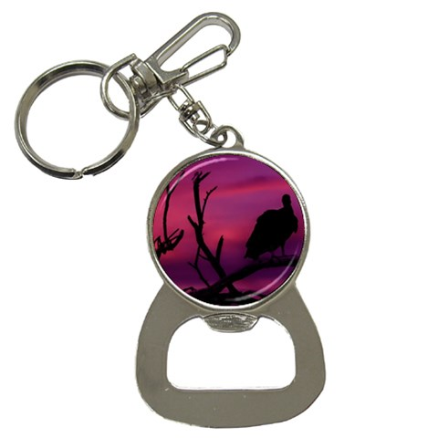 Vultures At Top Of Tree Silhouette Illustration Bottle Opener Key Chains