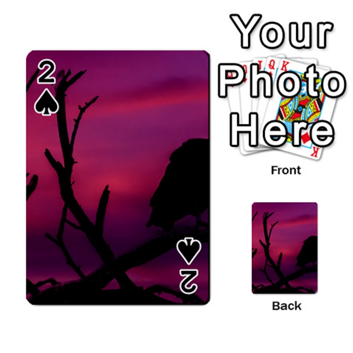 Vultures At Top Of Tree Silhouette Illustration Playing Cards 54 Designs