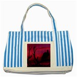 Vultures At Top Of Tree Silhouette Illustration Striped Blue Tote Bag Front