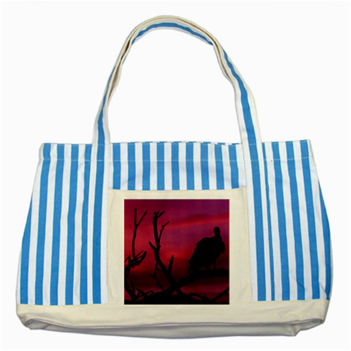 Vultures At Top Of Tree Silhouette Illustration Striped Blue Tote Bag