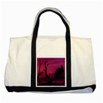 Vultures At Top Of Tree Silhouette Illustration Two Tone Tote Bag Front