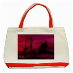 Vultures At Top Of Tree Silhouette Illustration Classic Tote Bag (Red) Front