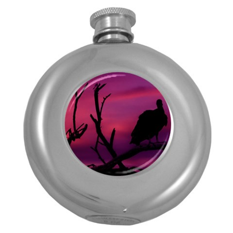 Vultures At Top Of Tree Silhouette Illustration Round Hip Flask (5 oz)