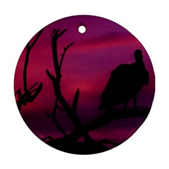 Vultures At Top Of Tree Silhouette Illustration Round Ornament (Two Sides)