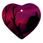 Vultures At Top Of Tree Silhouette Illustration Heart Ornament (2 Sides) Front