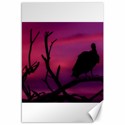 Vultures At Top Of Tree Silhouette Illustration Canvas 12  x 18