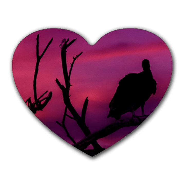 Vultures At Top Of Tree Silhouette Illustration Heart Mousepads