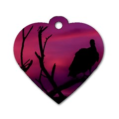 Vultures At Top Of Tree Silhouette Illustration Dog Tag Heart (one Side)