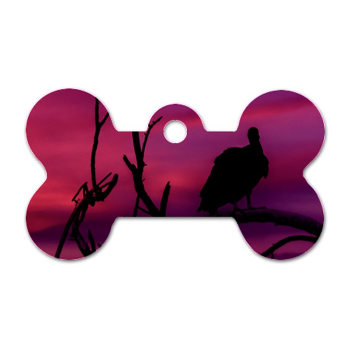 Vultures At Top Of Tree Silhouette Illustration Dog Tag Bone (One Side)