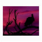 Vultures At Top Of Tree Silhouette Illustration Small Glasses Cloth (2-Side) Front