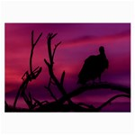 Vultures At Top Of Tree Silhouette Illustration Large Glasses Cloth (2-Side) Front