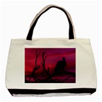 Vultures At Top Of Tree Silhouette Illustration Basic Tote Bag (Two Sides) Back