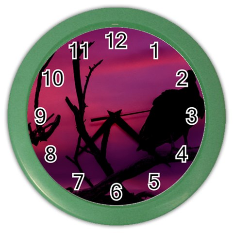 Vultures At Top Of Tree Silhouette Illustration Color Wall Clocks