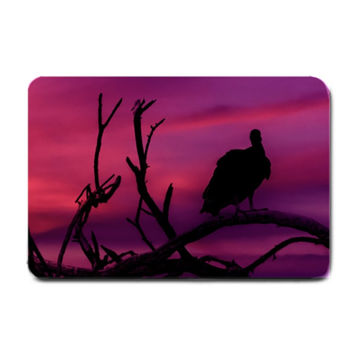 Vultures At Top Of Tree Silhouette Illustration Small Doormat