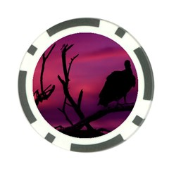 Vultures At Top Of Tree Silhouette Illustration Poker Chip Card Guards