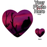 Vultures At Top Of Tree Silhouette Illustration Multi-purpose Cards (Heart)  Front 24