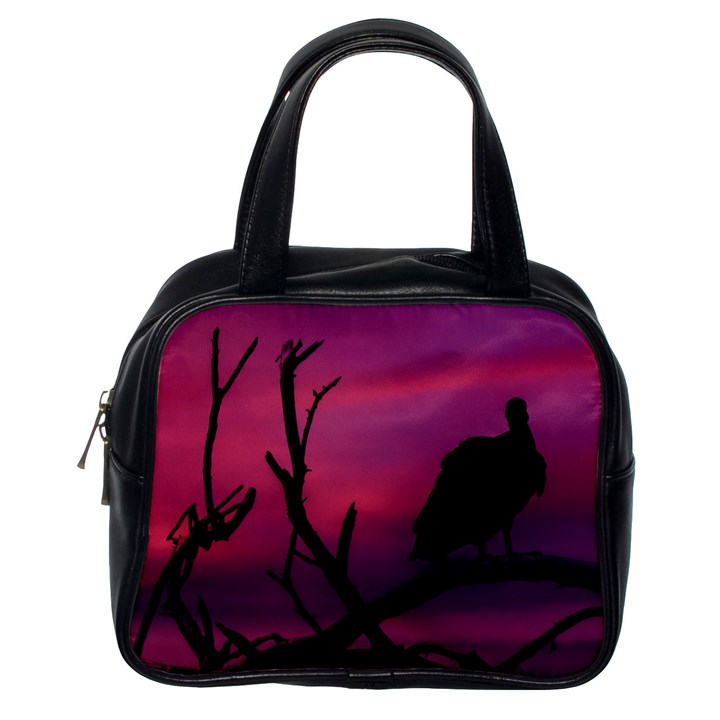Vultures At Top Of Tree Silhouette Illustration Classic Handbags (One Side)