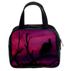 Vultures At Top Of Tree Silhouette Illustration Classic Handbags (2 Sides)