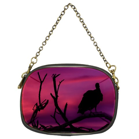 Vultures At Top Of Tree Silhouette Illustration Chain Purses (One Side)