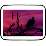 Vultures At Top Of Tree Silhouette Illustration Fleece Blanket (Mini) 35 x27 Blanket