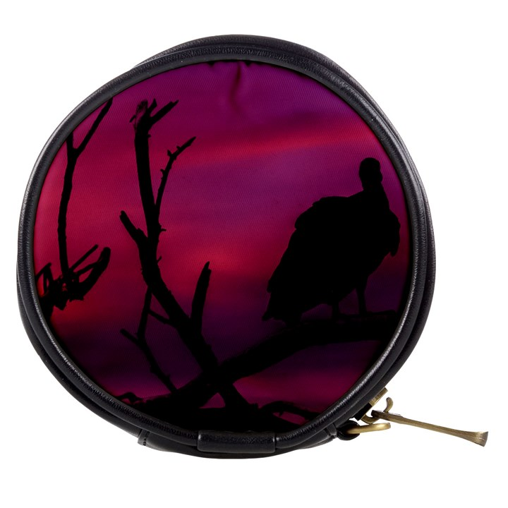Vultures At Top Of Tree Silhouette Illustration Mini Makeup Bags