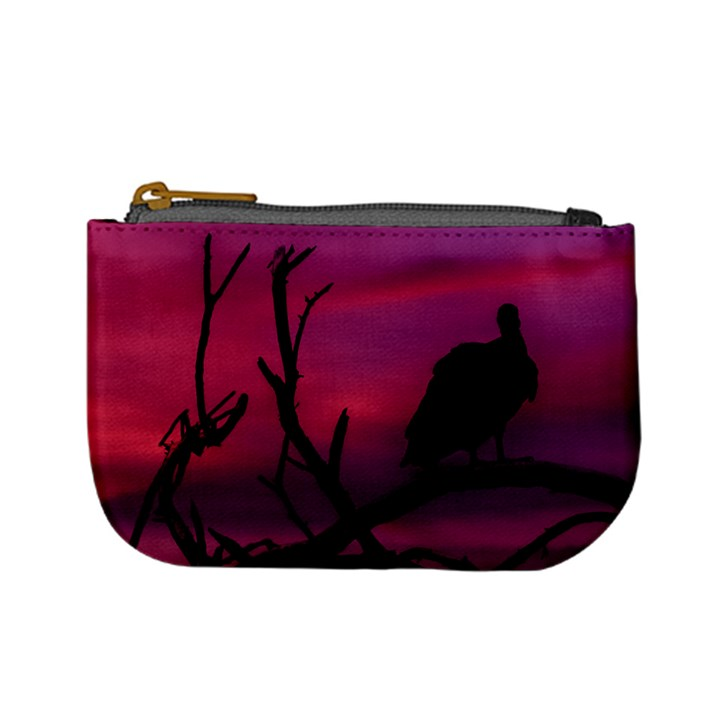 Vultures At Top Of Tree Silhouette Illustration Mini Coin Purses