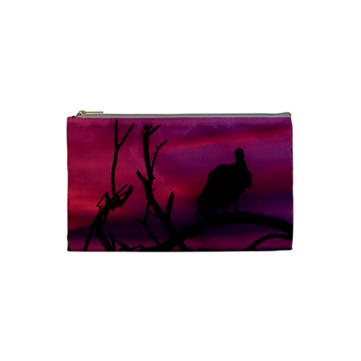 Vultures At Top Of Tree Silhouette Illustration Cosmetic Bag (Small)