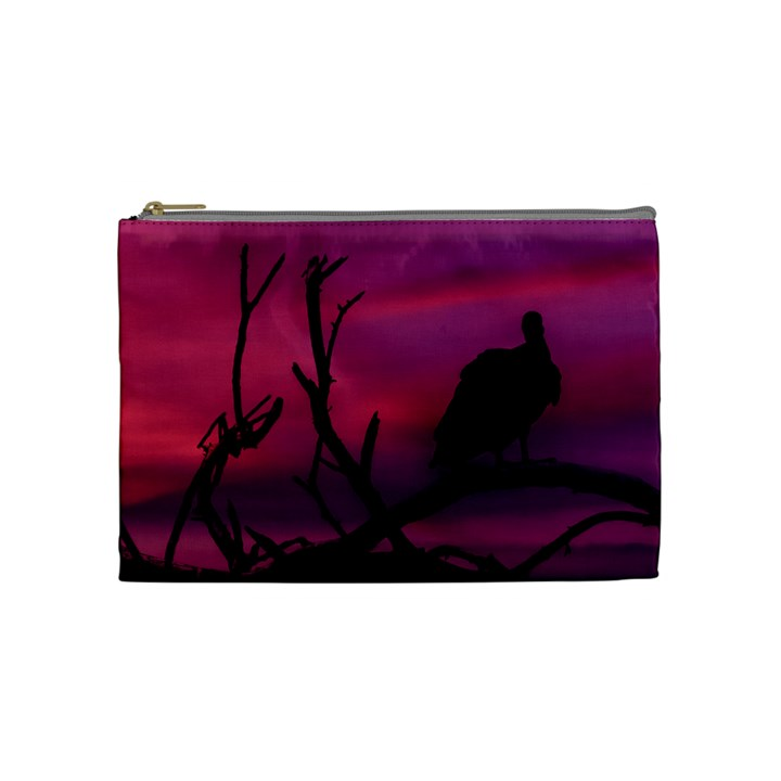 Vultures At Top Of Tree Silhouette Illustration Cosmetic Bag (Medium)