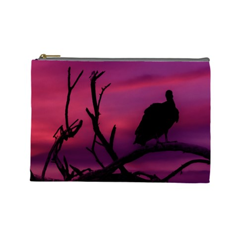 Vultures At Top Of Tree Silhouette Illustration Cosmetic Bag (Large)