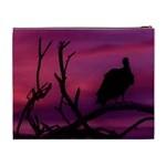 Vultures At Top Of Tree Silhouette Illustration Cosmetic Bag (XL) Back