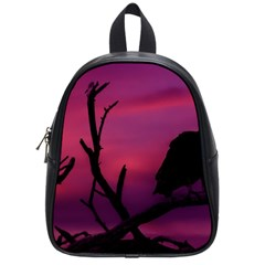 Vultures At Top Of Tree Silhouette Illustration School Bags (Small)