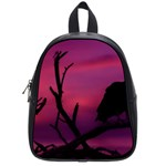 Vultures At Top Of Tree Silhouette Illustration School Bags (Small)  Front