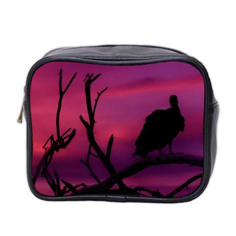 Vultures At Top Of Tree Silhouette Illustration Mini Toiletries Bag 2-Side
