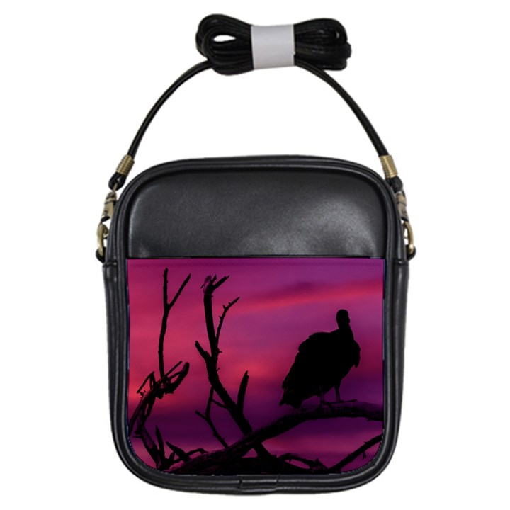 Vultures At Top Of Tree Silhouette Illustration Girls Sling Bags