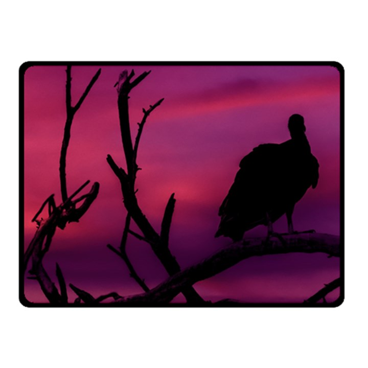 Vultures At Top Of Tree Silhouette Illustration Fleece Blanket (Small)