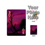 Vultures At Top Of Tree Silhouette Illustration Playing Cards 54 (Mini)  Front - Heart3