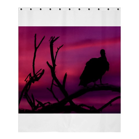 Vultures At Top Of Tree Silhouette Illustration Shower Curtain 60  x 72  (Medium)