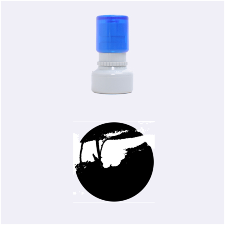 Vultures At Top Of Tree Silhouette Illustration Rubber Round Stamps (Small)