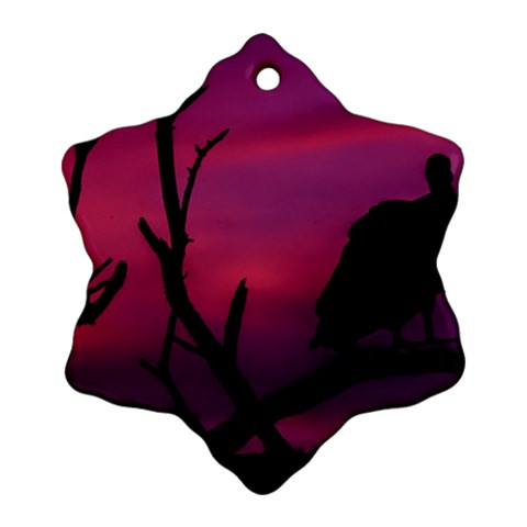 Vultures At Top Of Tree Silhouette Illustration Ornament (Snowflake)