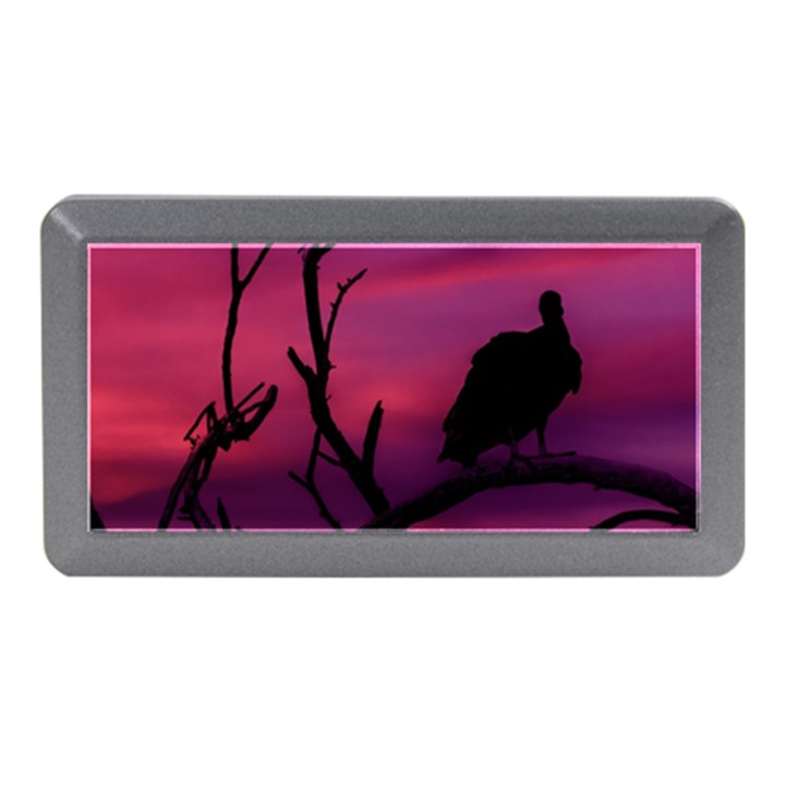 Vultures At Top Of Tree Silhouette Illustration Memory Card Reader (Mini)