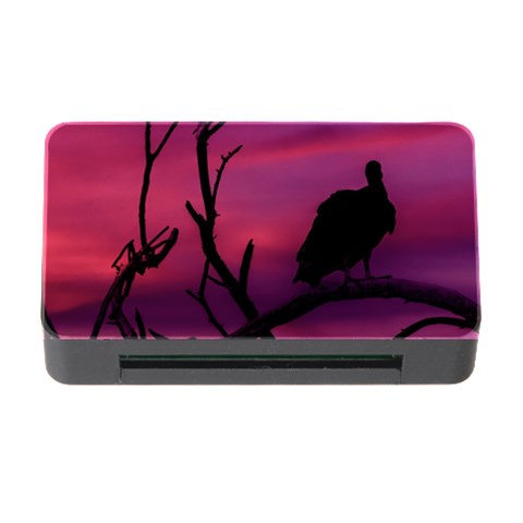Vultures At Top Of Tree Silhouette Illustration Memory Card Reader with CF