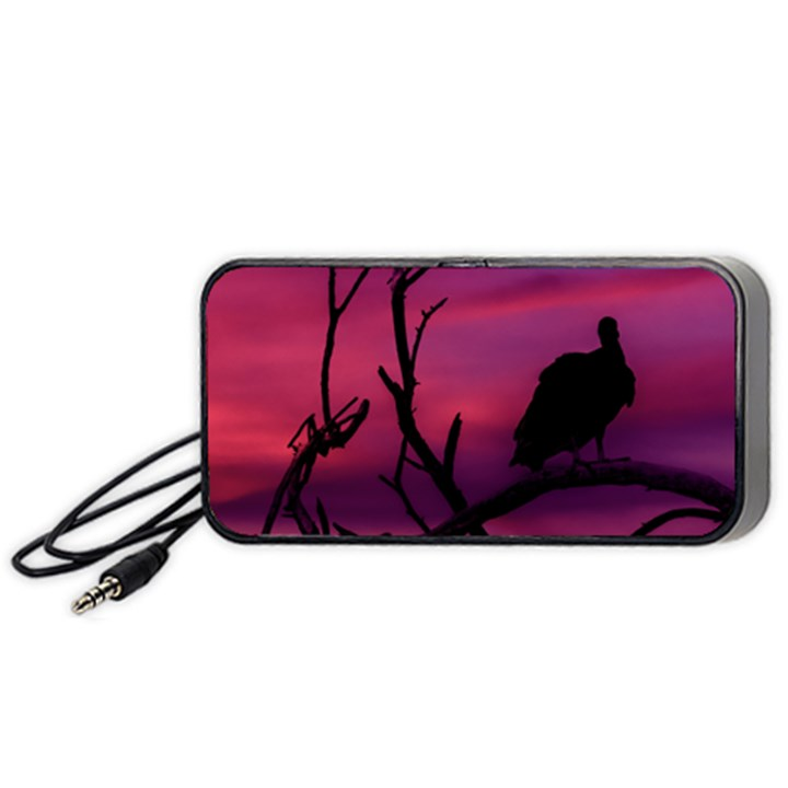 Vultures At Top Of Tree Silhouette Illustration Portable Speaker (Black)