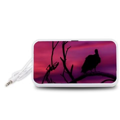 Vultures At Top Of Tree Silhouette Illustration Portable Speaker (White)