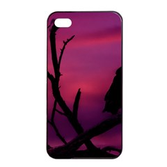 Vultures At Top Of Tree Silhouette Illustration Apple Iphone 4/4s Seamless Case (black)