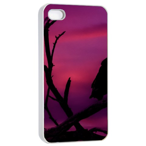 Vultures At Top Of Tree Silhouette Illustration Apple iPhone 4/4s Seamless Case (White)