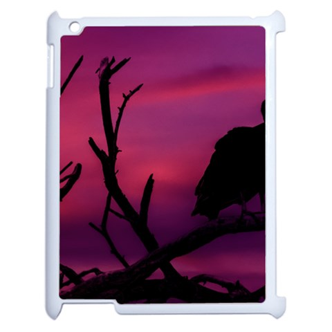 Vultures At Top Of Tree Silhouette Illustration Apple iPad 2 Case (White)